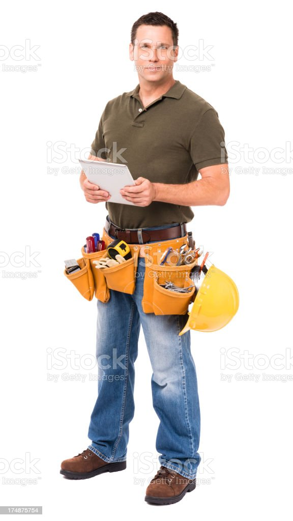 Construction Contractor Carpenter with Digital Tablet Isolated on White Background royalty-free stock photo