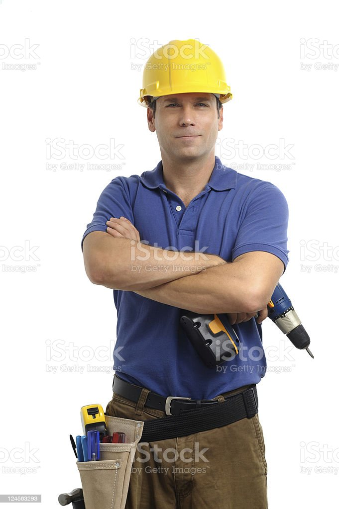 Construction Contractor Carpenter with Drill Isolated on White Background royalty-free stock photo