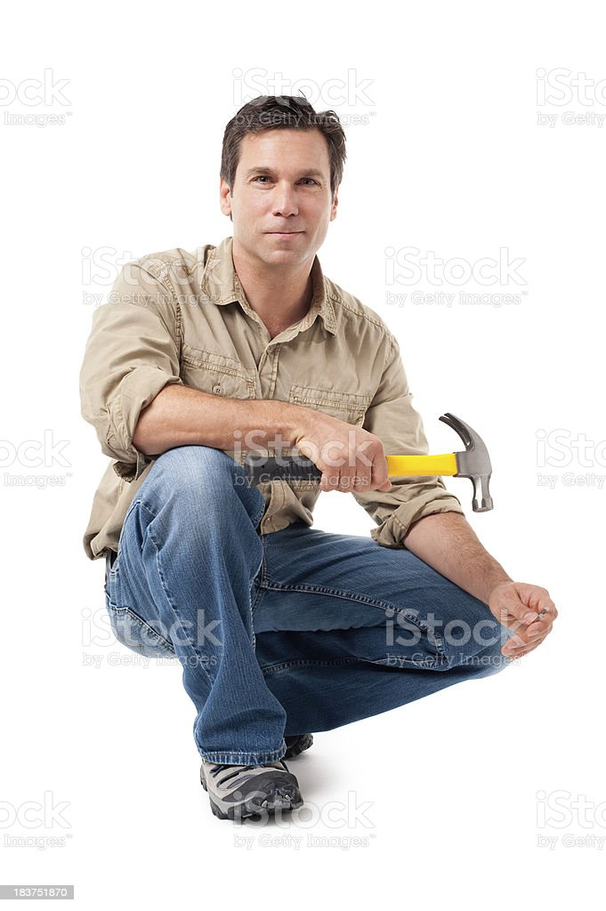 Construction Contractor Carpenter with Hammer Isolated on White Background stock photo