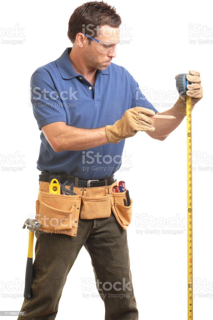 Construction Contractor Carpenter with Measuring Tape Toolbelt Pencil Gloves royalty-free stock photo