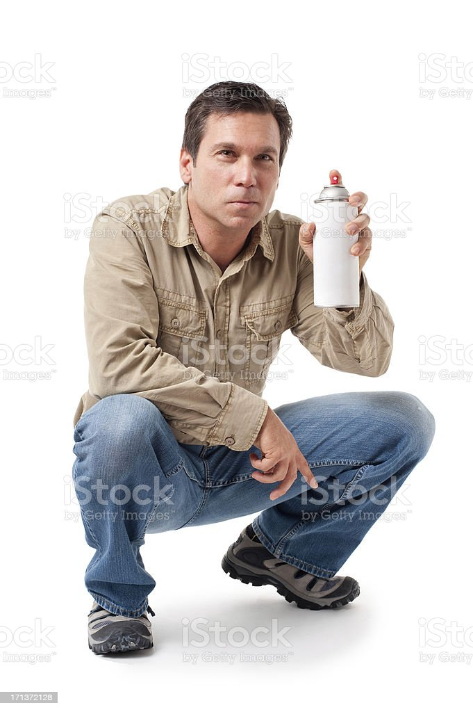 Construction Contractor Carpenter with Spraypaint Isolated on White Background royalty-free stock photo
