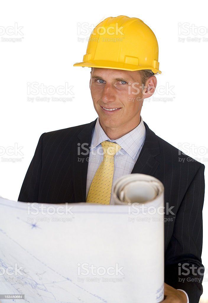 construction contractor with blueprints royalty-free stock photo