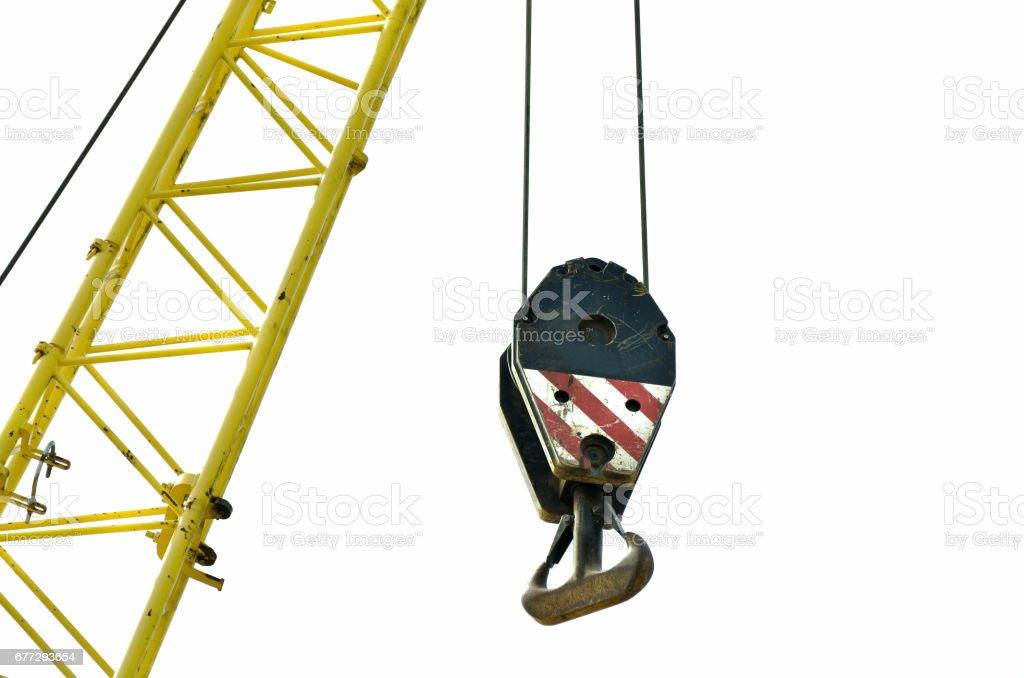 Construction crane hook. stock photo