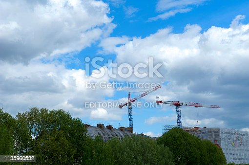 istock Construction Crane in Paris, France 1135960532
