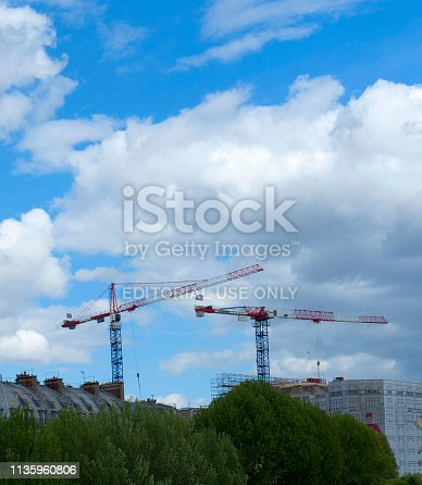 istock Construction Crane in Paris, France 1135960806