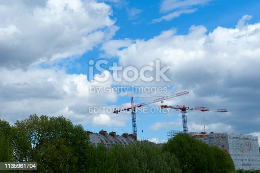 istock Construction Crane in Paris, France 1135961704