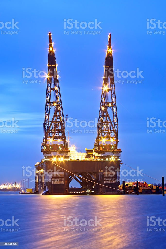 Construction crane in Rotterdam harbor the Netherlands - Royalty-free Building Exterior Stock Photo