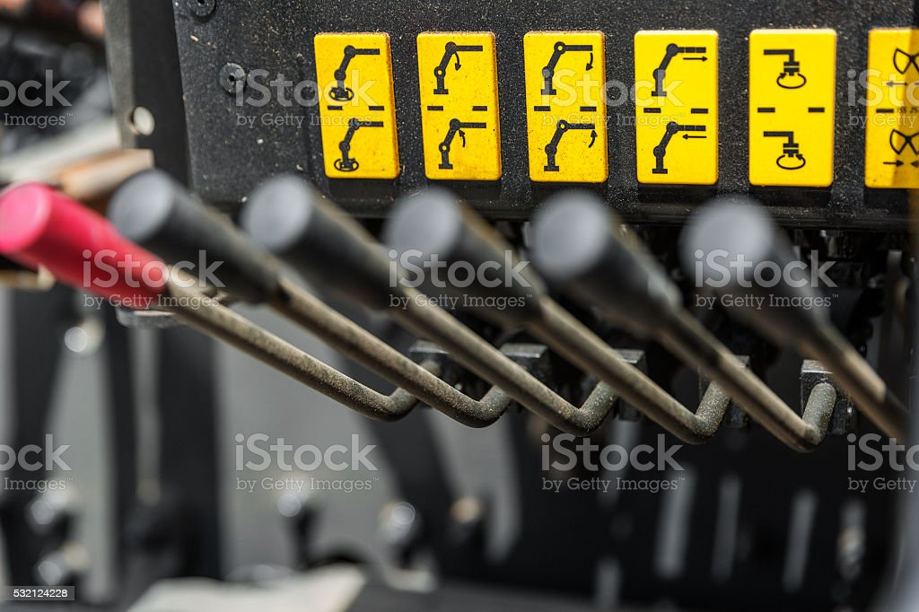 Construction crane operating system stock photo