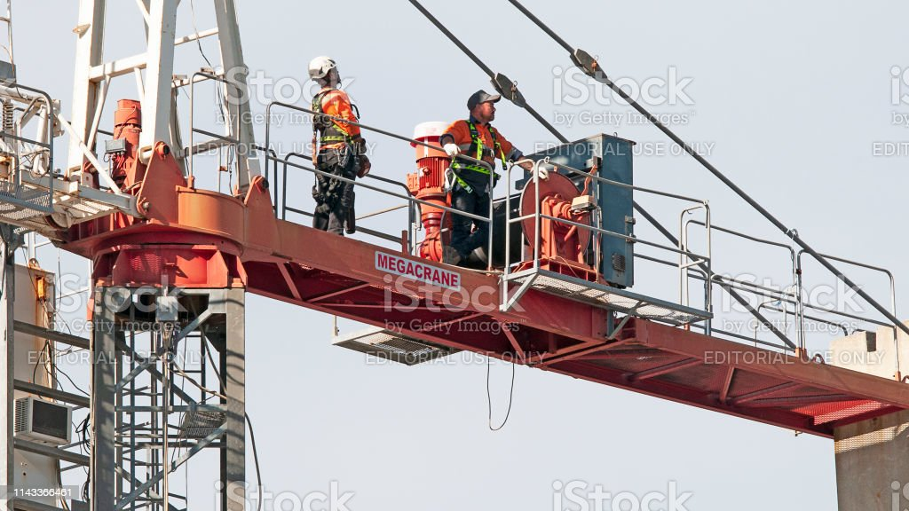 Construction crane removal. Update ed302. Gosford. April 9, 2019. stock photo
