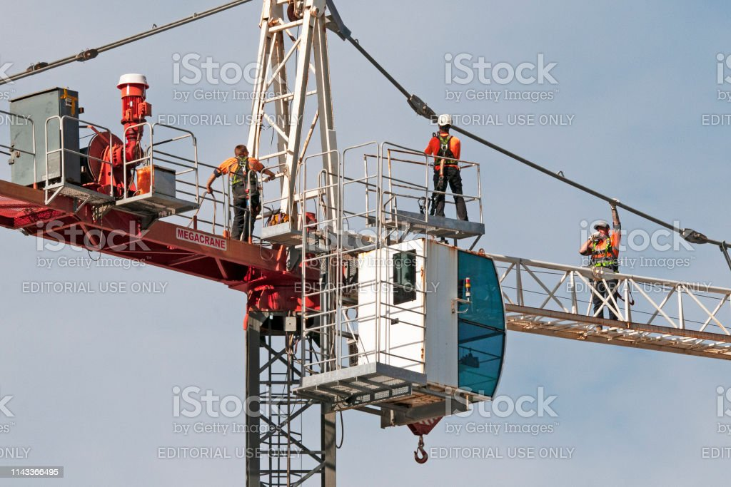 Construction crane removal. Update ed305. Gosford. April 9, 2019. stock photo