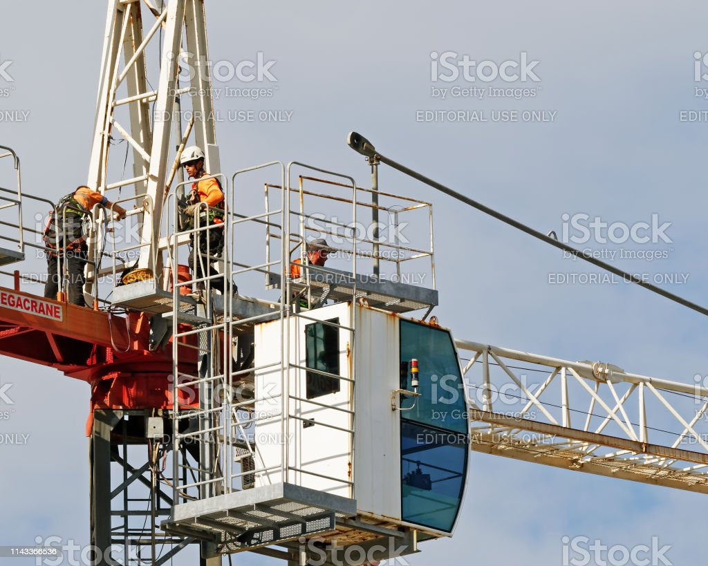 Construction crane removal. Update ed306. Gosford. April 9, 2019. stock photo
