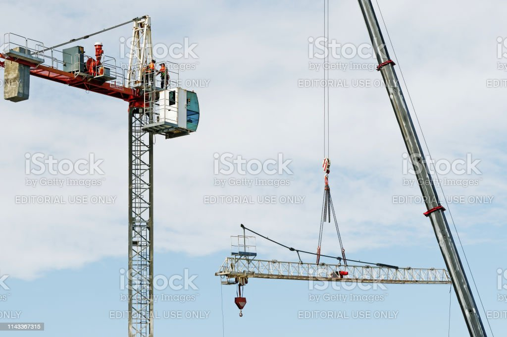 Construction crane removal. Update ed307. Gosford. April 9, 2019. stock photo