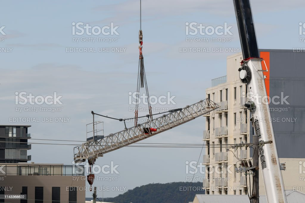 Construction crane removal. Update ed308 . Gosford. April 9, 2019. stock photo