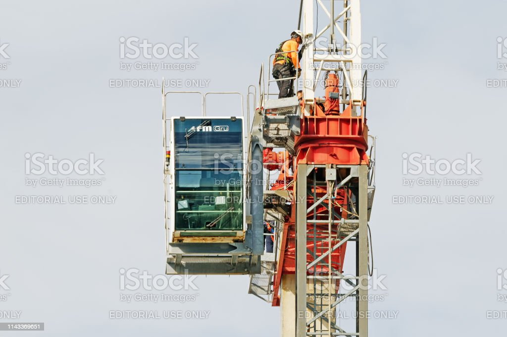 Construction crane removal. Update ed309. Gosford. April 9, 2019. stock photo