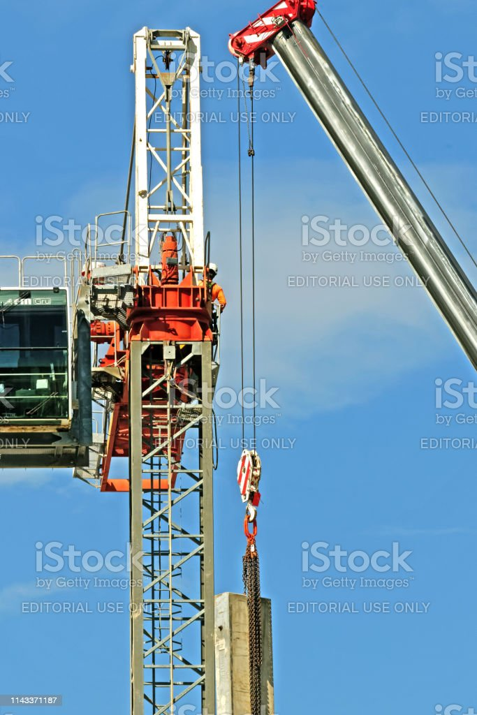 Construction crane removal. Update ed310. Gosford. April 9, 2019. stock photo
