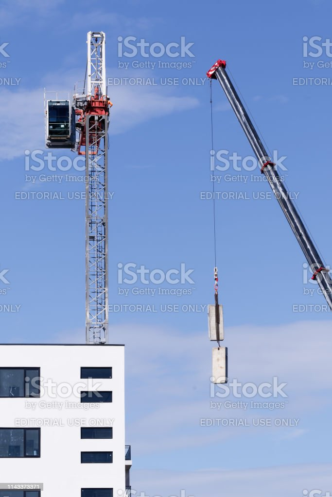 Construction crane removal. Update ed311. Gosford. April 9, 2019. stock photo
