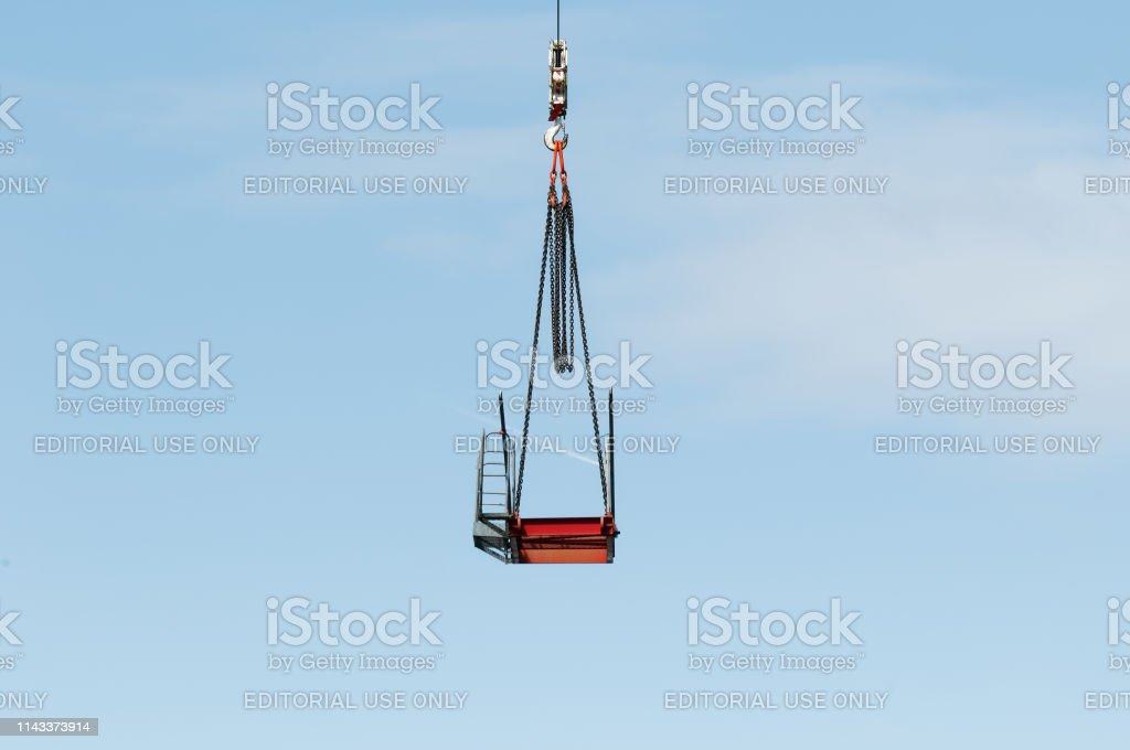 Construction crane removal. Update ed312. Gosford. April 9, 2019. stock photo