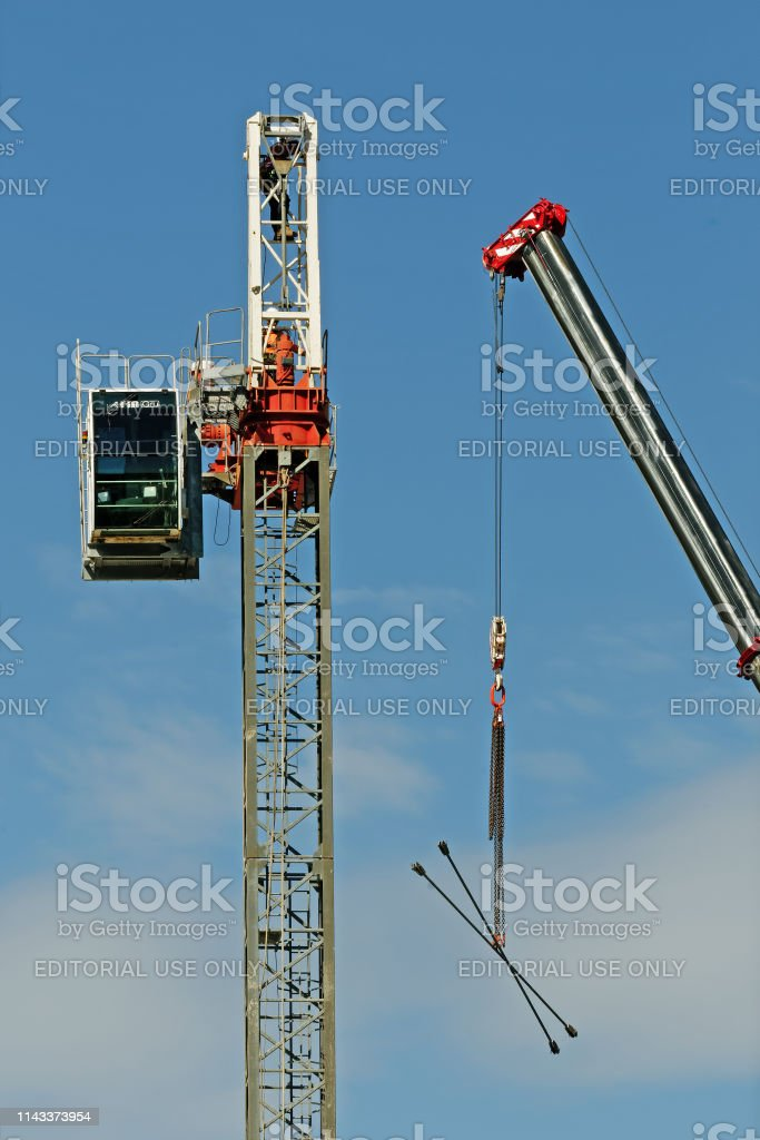 Construction crane removal. Update ed313. Gosford. April 9, 2019. stock photo