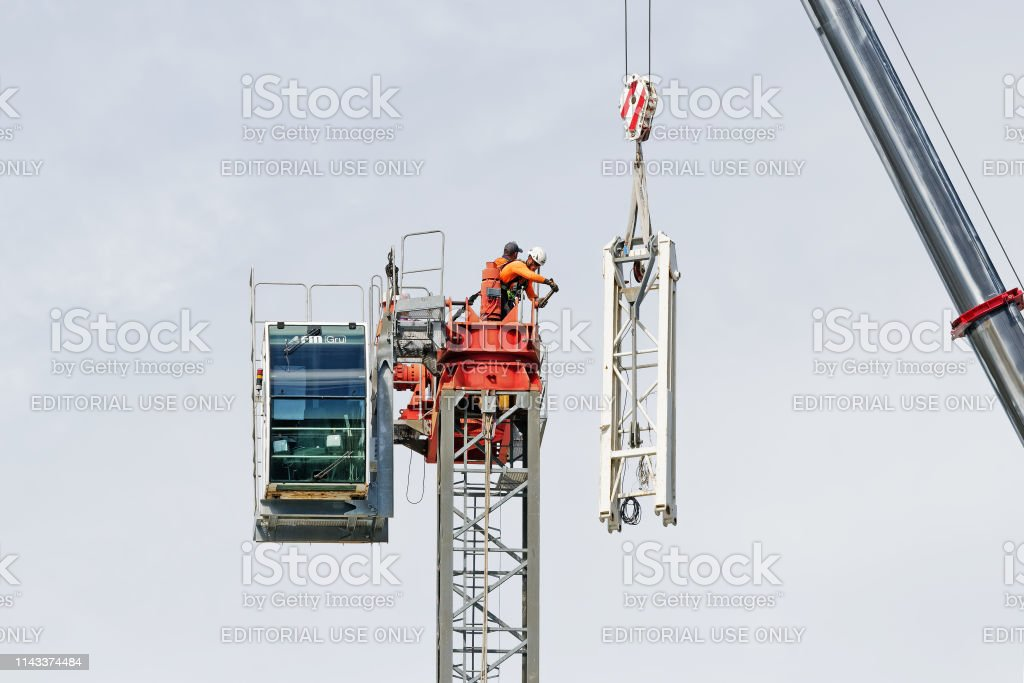 Construction crane removal. Update ed314. Gosford. April 9, 2019. stock photo