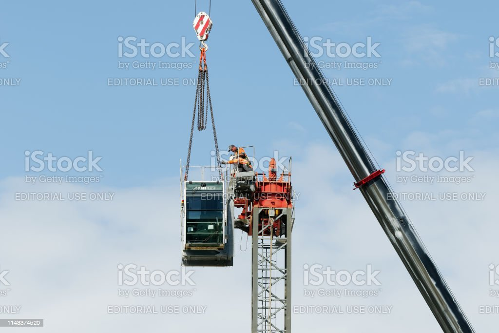 Construction crane removal. Update ed315. Gosford. April 9, 2019. stock photo