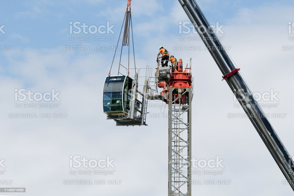 Construction crane removal. Update ed316. Gosford. April 9, 2019. stock photo