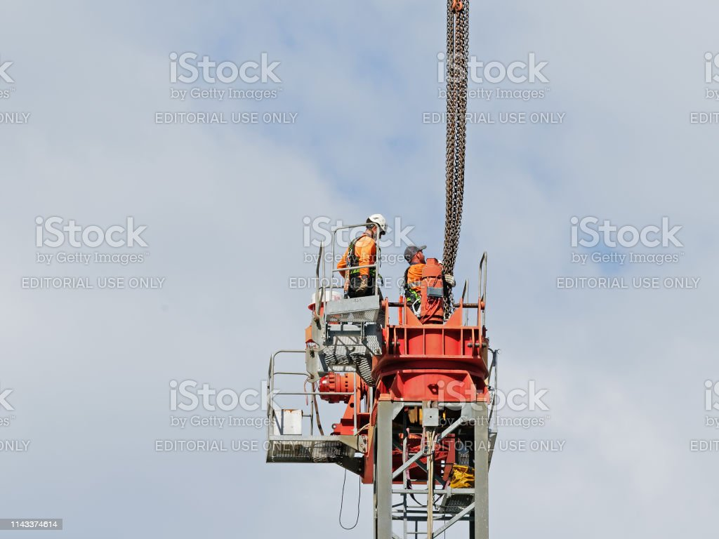 Construction crane removal. Update ed317. Gosford. April 9, 2019. stock photo