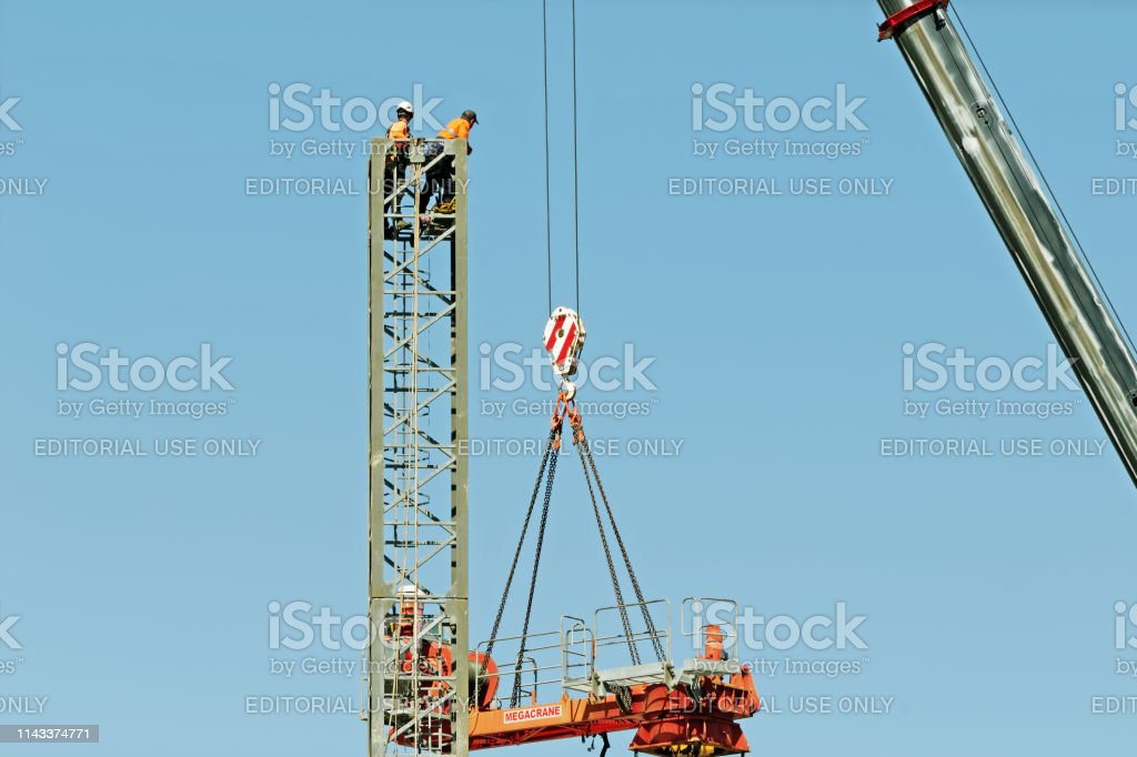 Construction crane removal. Update ed319. Gosford. April 9, 2019. stock photo