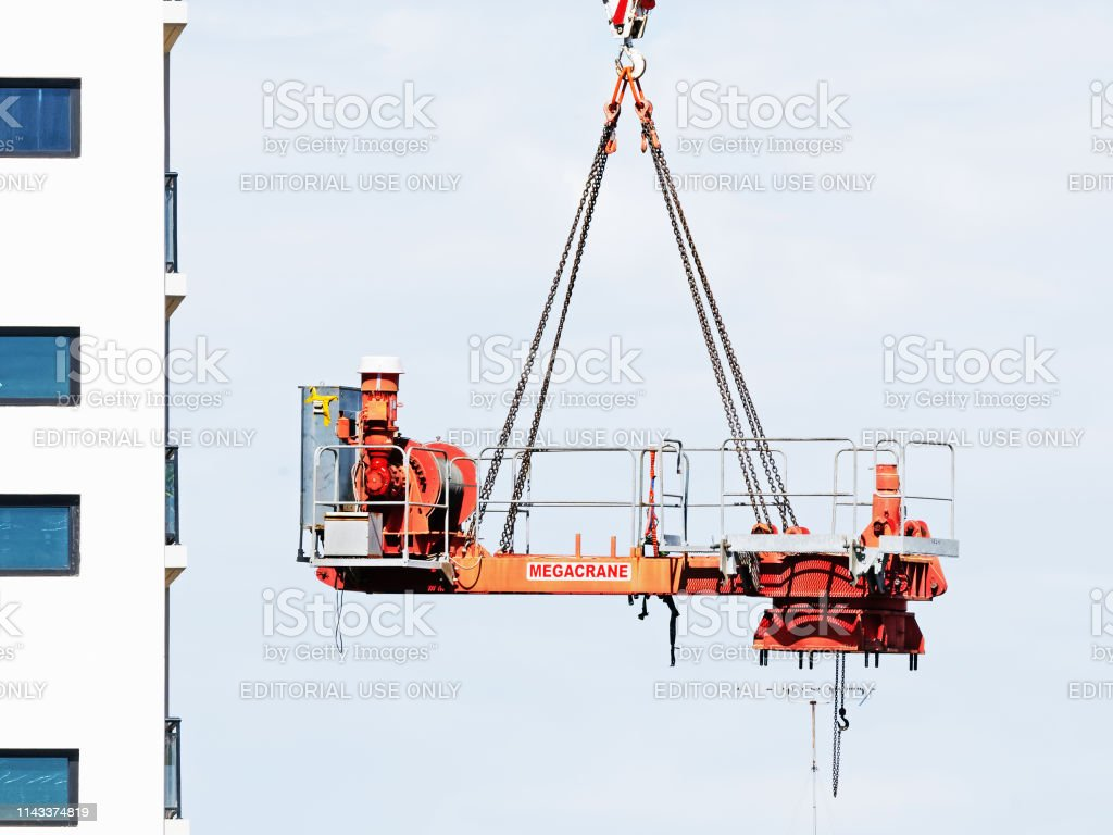 Construction crane removal. Update ed320. Gosford. April 9, 2019. stock photo
