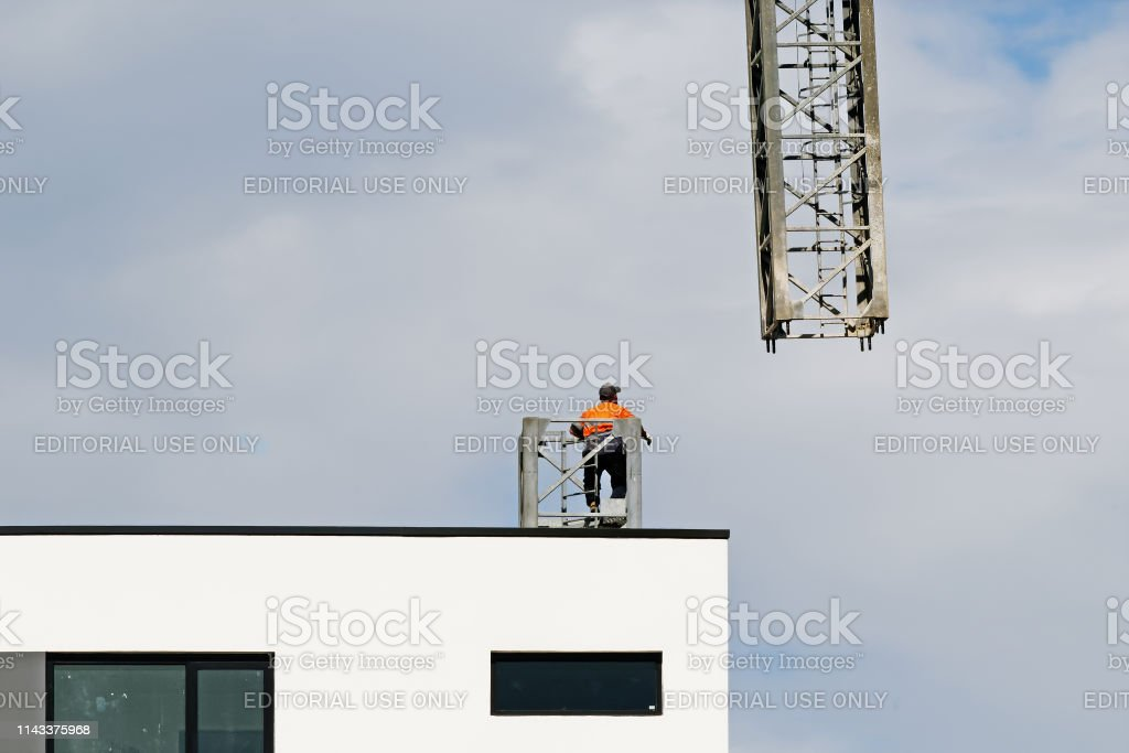 Construction crane removal. Update ed324. Gosford. April 9, 2019. stock photo