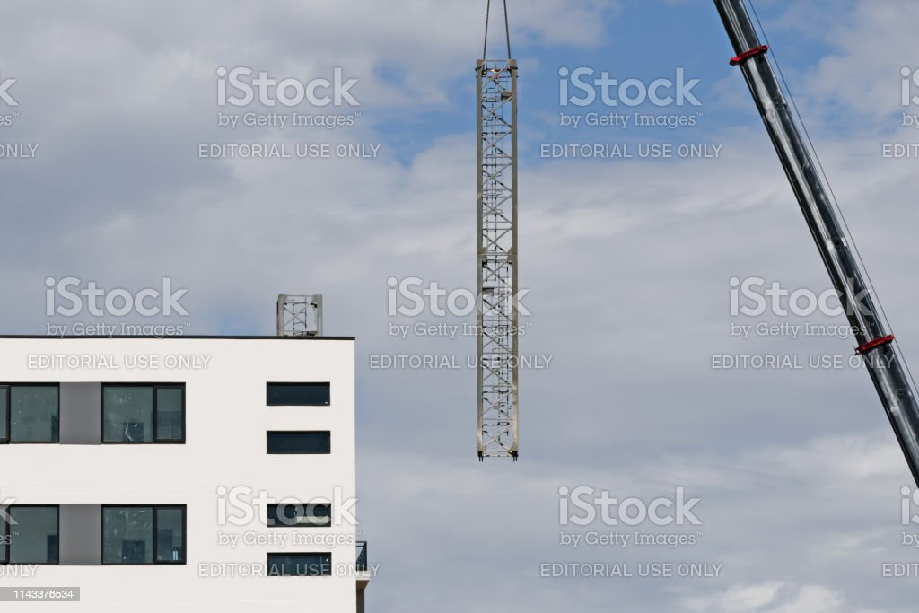 Construction crane removal. Update ed325. Gosford. April 9, 2019. stock photo