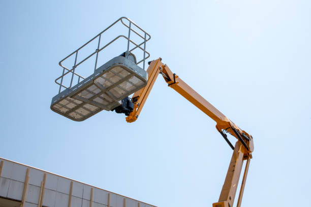 Construction cranes empty boom lift against blue sky work platform Lift basket Boom lift and work aerial platform antenna aerial stock pictures, royalty-free photos & images