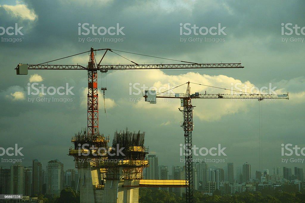 Construction cranes in San Paulo royalty-free stock photo