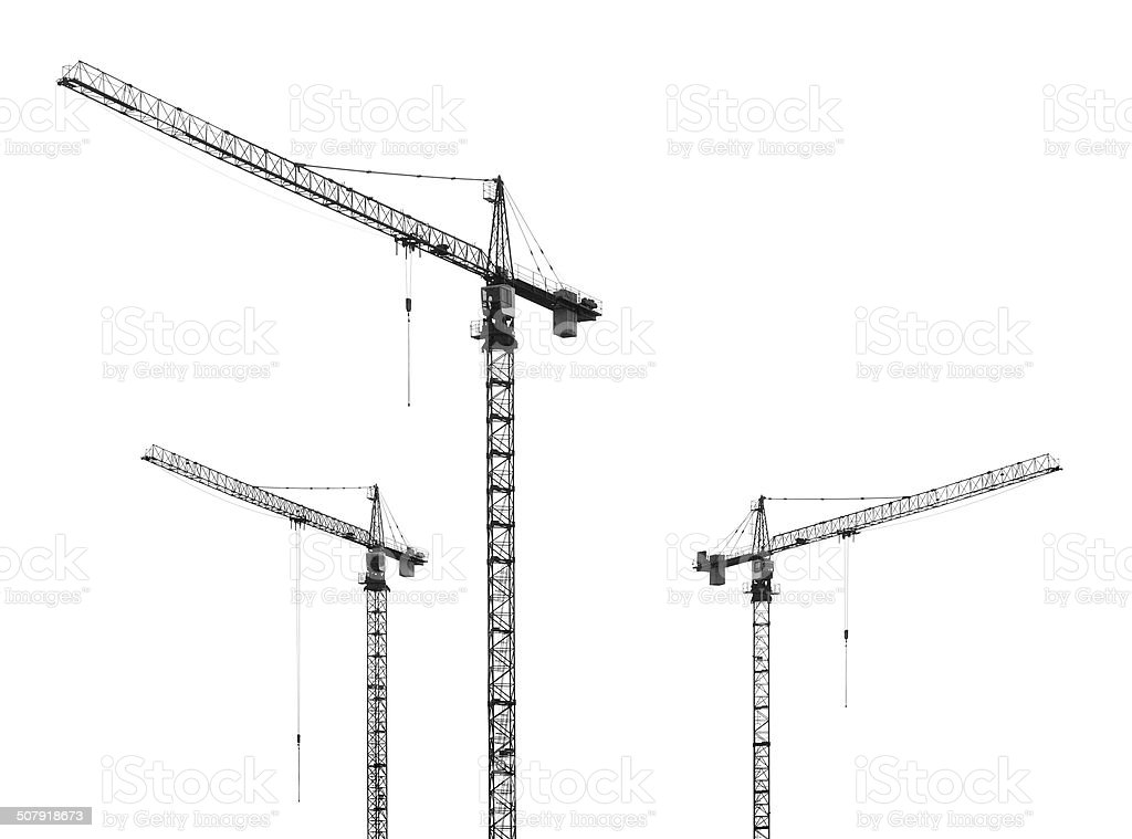 construction cranes on white background stock photo