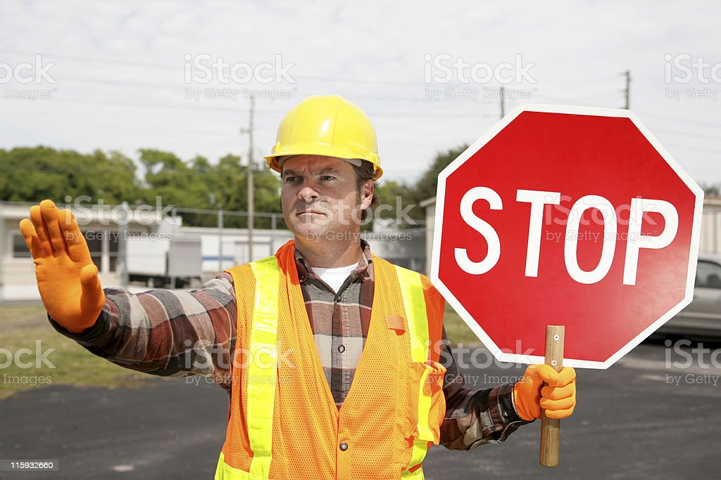 Construction Crew Stop Sign stock photo
