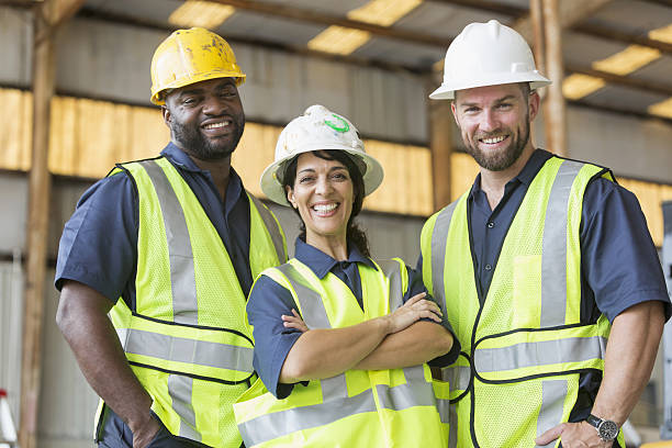 Construction crew with female boss – Foto