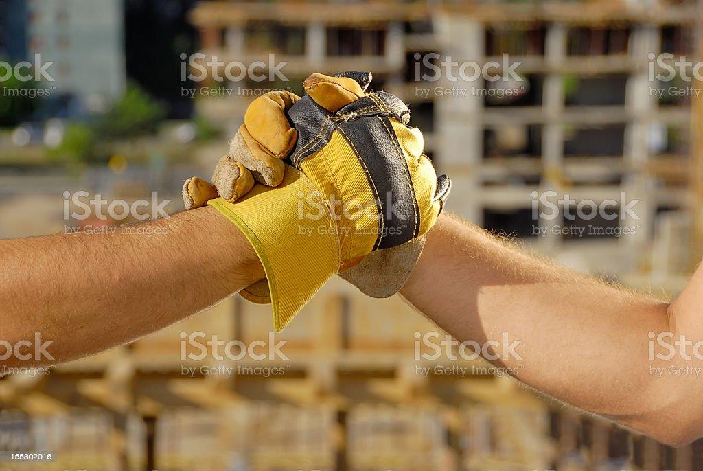 Construction deal, handshake stock photo