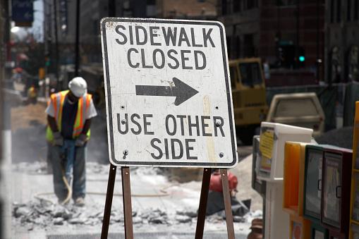 Construction Demolition Of Sidewalk Stock Photo - Download Image Now