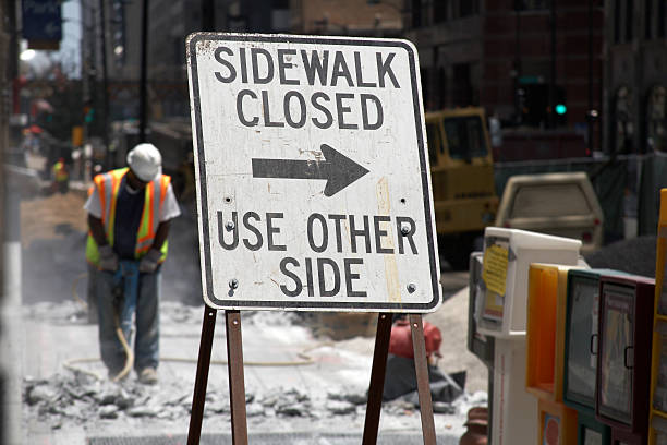 Construction demolition of sidewalk