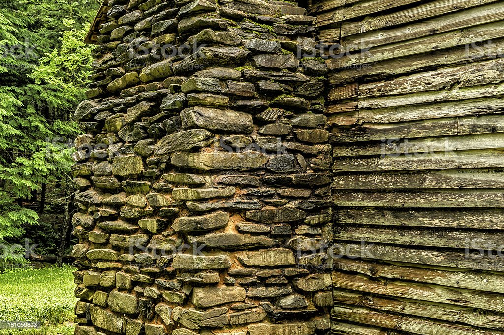 Construction Detail In Historic Smoky Mountains Settlers Cabin royalty-free stock photo