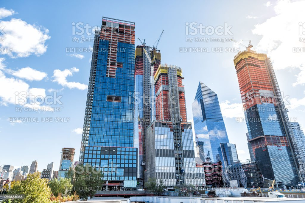Construction development at the Hudson Yards in Manhattan, NYC, on Chelsea West Side of residential apartments, offices stock photo