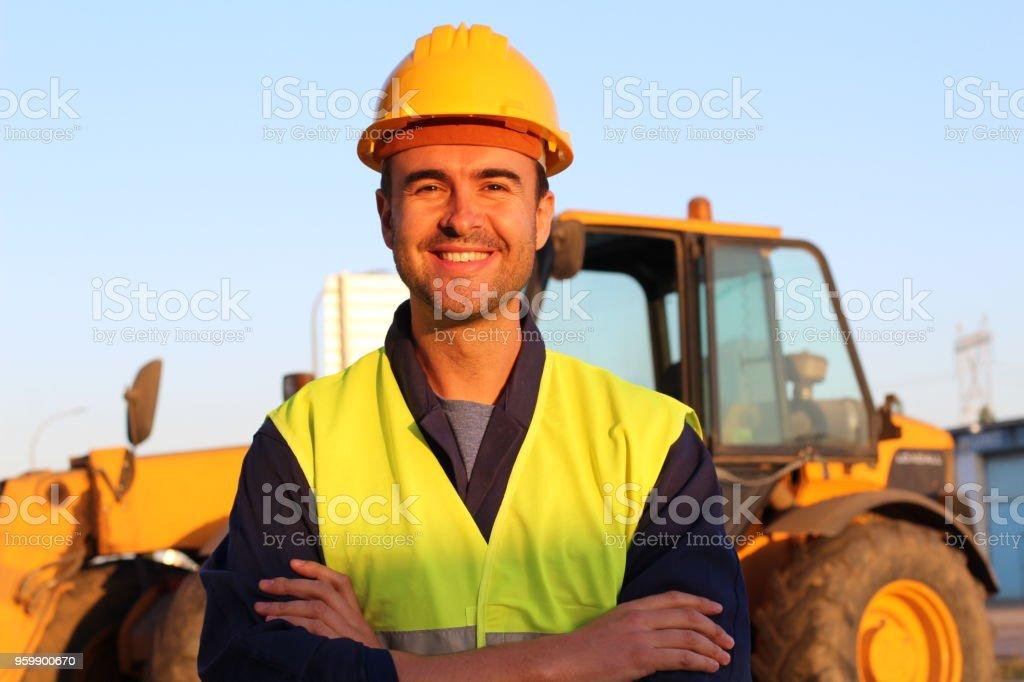 建築驅動與挖掘機的背景 - 免版稅30歲到34歲圖庫照片