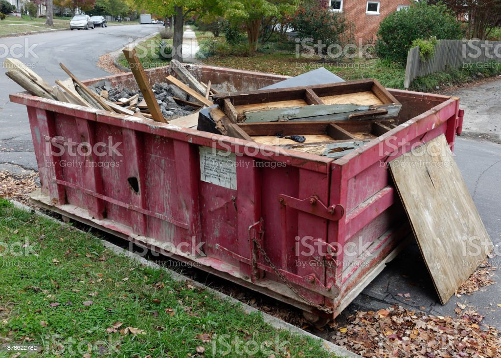 Construction Dumpster stock photo