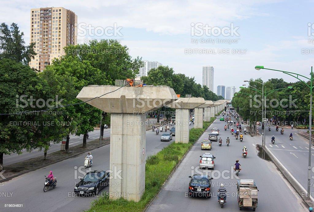 Construction elevated railway stock photo