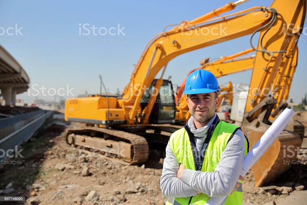Construction Engineer and Machinery stock photo