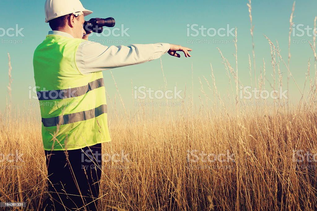 Construction engineer in field royalty-free stock photo