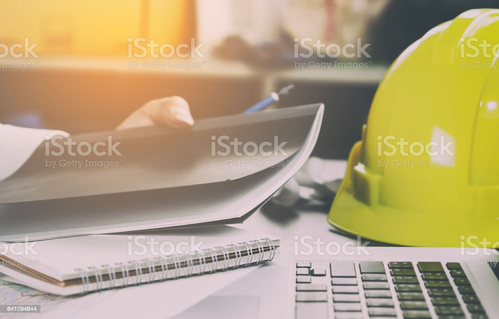 Construction engineer office working desk stock photo