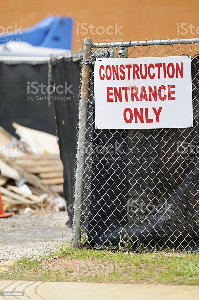 Construction entrance only sign royalty-free stock photo