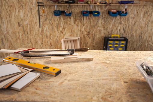 Construction equipment in workshop