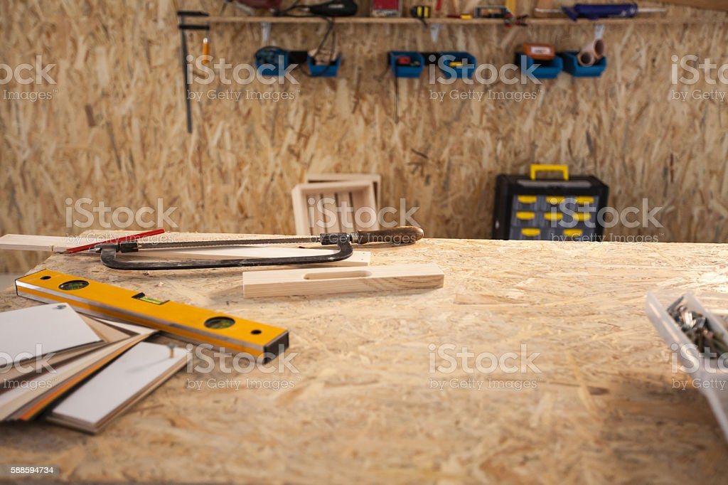 Construction equipment in workshop stock photo