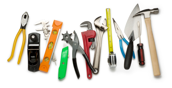 This is an overhead photo of construction tools isolated on a white background.Click on the links below to view lightboxes.